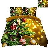 HUANZI Bettbezug Set 3D Weihnachtsdekoration GrüNe Pflanze Und Ballon-Druckmuster BettwäSche-Set 3 StüCk, Yellow, Queen 240 * 225cm
