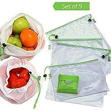 Set de 9 Bolsas de Malla Reutilizables + 1 Bolsa Plegable de Compra Extra, Ecológicas y Excelentes para Guardar Frutas/ Verduras, Juguetes, Manualidades, Cosméticos, Lavable y Libre de BPA, 3 Tamaños