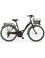 "Bicicleta MBM Agorà para mujeres, cuadro de acero, 26"", 6 velocidades, tamaño 43, cesta incluida, cinco colores disponibles (Negro, H43)"