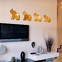 Yogogo 4pcs ÉLéPhant Autocollant Mural Miroir DéCor Art DIY Accueil Decal Mural Nouveau (Gold)