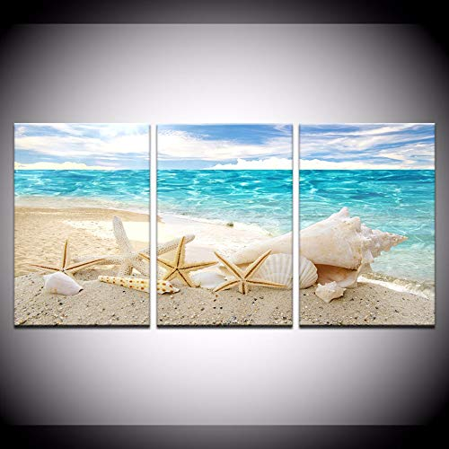 qiumeixia1 Canvas Prints Paintings Home Decor 3 Pieces Beauty Seaview Sea Shells Pictures Beach Posters Living Room Wall Art Modular 50 * 70cm No Frame