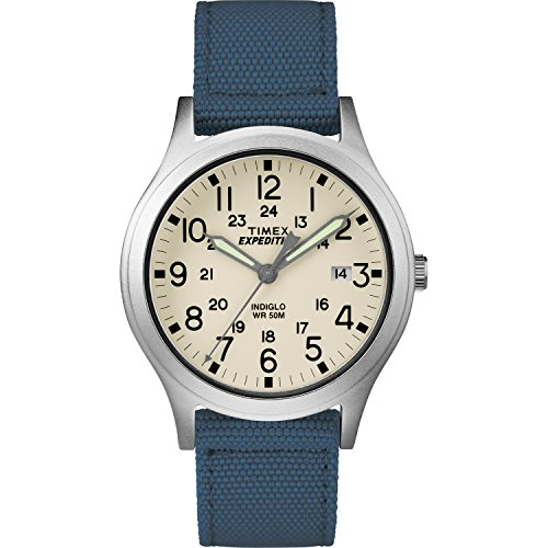 Timex Unisex TW4B13800 Expedition Scout 36 Blue/Natural Nylon Strap Watch