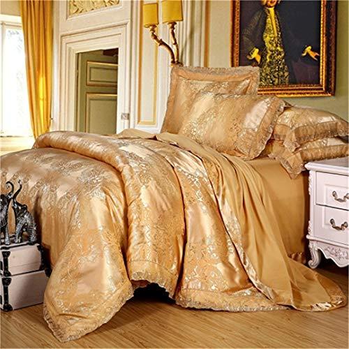 KenYosns Luxus Satin Jacquard Bettwäsche Set Bett Set Gold Silber Farbe 4 Stücke Baumwollseide Spitze Bettbezug Sets Bettlaken Set 20 Queen Size 4pcs