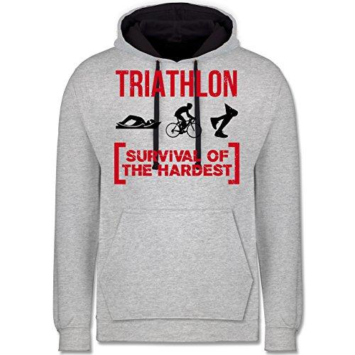 Sonstige Sportarten - Triathlon - Survival of The Hardest - L - Grau meliert/Navy Blau - JH003 - Kontrast Hoodie