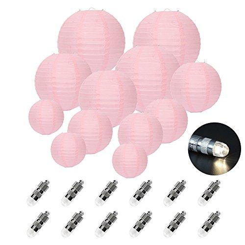 FullBerg 12er Rose Papier Laterne Lampions (Verschiedene Größen) mit 12er Warmweiße Mini LED-Ballons Lichter, rund Lampenschirm Hochtzeit Dekoration Papierlaterne