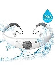Tayogo Reproductor mp3 Acuatico con Auriculares Natacion IPX8 8GB Disco U Extraíble para Deporte Natación con Modo Aleatorio-Negro (Blanco)
