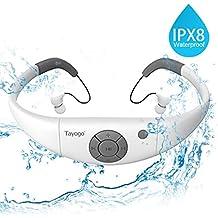 Tayogo Reproductor de MP3 IPX8 mp3 Impermeable Natación, 8GB de Memoria, Permite descargar 2000 Canciones Ultra-Ligero Disco U Resistente al Calor 60 ℃ Perfecto para Nadar Carrera Excursionismo SPA
