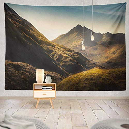 gthytjhv Tapisserie Decor Collection, Mountains Scotland Mountain Scotland Scottish Rock Landscape Hill Bedroom Living Room Dorm Wall Hanging Tapestry Polyester & Polyester Blend -