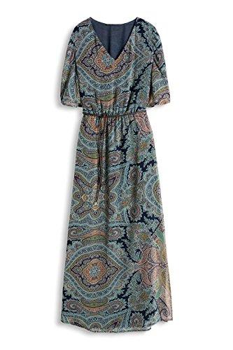 ESPRIT Collection Damen Kleid 066eo1e002-mit Gürtel Blau (NAVY 400)