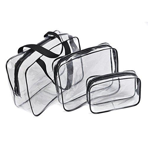 FunYoung Borsa da viaggio 3 pezzi trasparente imballaggio cubo bagagli da borse laterali in materiale PVC