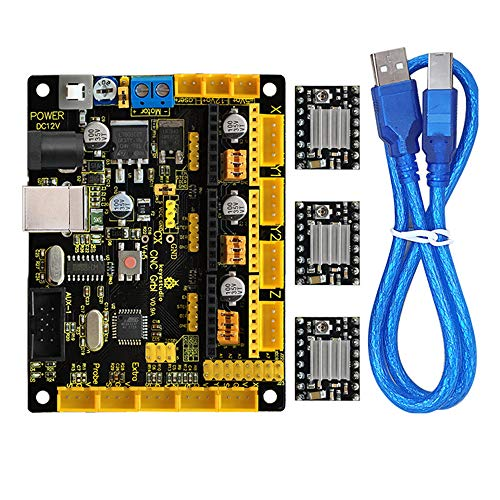 keyestudio 3D DRUCKER Controller Kit für Arduino MEGA 2560 R3 mit CNC Shield v0.9 a, 4 A4988 Stepper Motor Treiber mit Kühlkörper-Kits für RepRap (Arduino Mega 2560 V3)