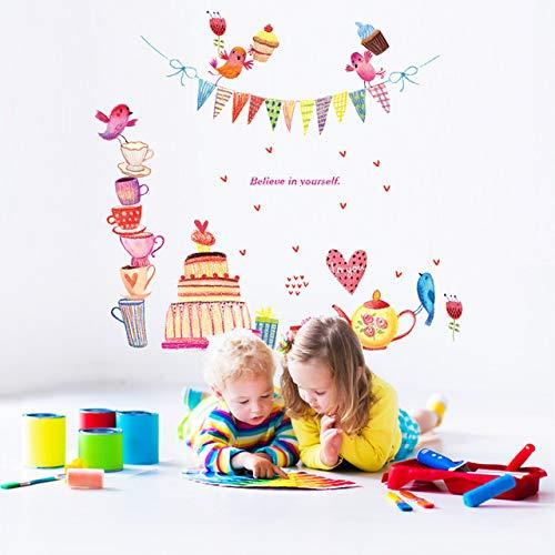 Wandaufkleber, Cartoon Kuchen Geschenk Teekanne Für Geburtstagsfeier Dekoration Kinderzimmer Wohnzimmer Wandtattoos Kunst Removablecm