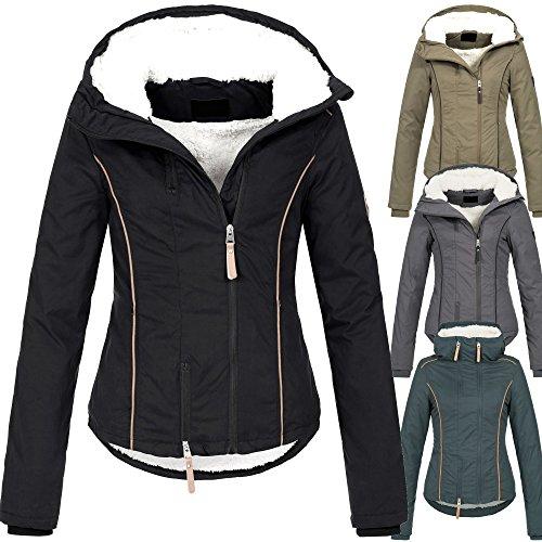 Ausnahme-Zustand Azuonda Damen Winter Jacke Parka Winterjacke warm gefüttert Teddyfell Kapuze XS-XL Az25
