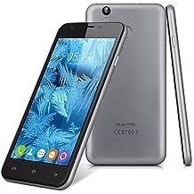 "Oukitel U7 Plus - Smartphone libre Android 6.0 (4G LTE, Pantalla 5.5"" LTPS, 16GB ROM + 2GB RAM, Quad-Core, Lector de huellas dactilares, Dual SIM), Gris"