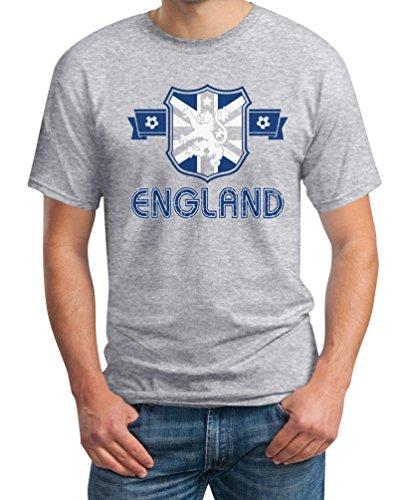 England GB Wappen Fussball Fanartikel EM WM T-Shirt Grau