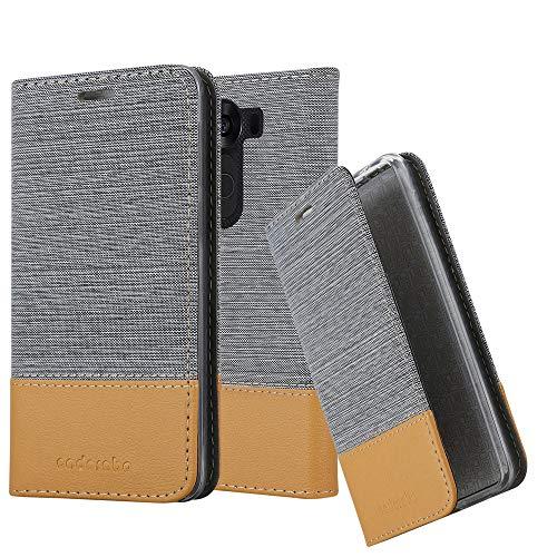 Cadorabo Hülle für LG V10 - Hülle in HELL GRAU BRAUN – Handyhülle mit Standfunktion und Kartenfach im Stoff Design - Case Cover Schutzhülle Etui Tasche Book