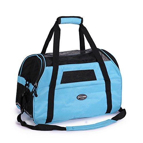 Tragetasche für Hunde & Katzen mit Tragegriff und Schultergurt Hundetasche Komfort Airline Genehmigte Hundetasche Weich-seitig Hund Tasche mit Matte belastet 7 kg, Blau