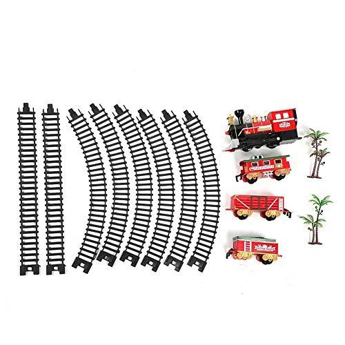 Zerodis- Trenino Giocattolo Set DIY Assemblato Classico Trenino Elettrico con Suoni Natale Tema Treno Giocattoli Cognitivo Compleanno Natale Regalo per 3 4 5 6 7 Anni Ragazze Ragazzi Bambini (A)
