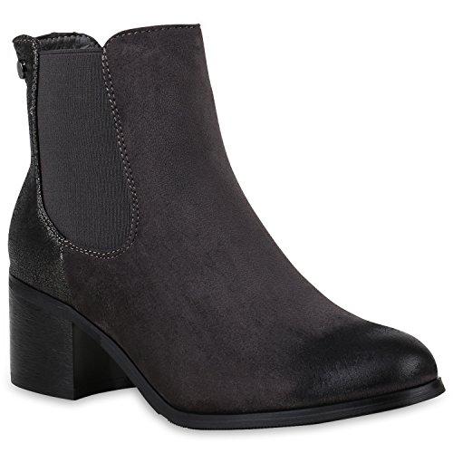 Leicht Gefütterte Stiefeletten Damen Schuhe Chelsea Boots Metallic 147570 Grau Metallic 39 Flandell