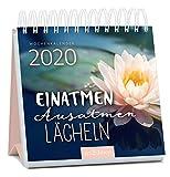 Miniwochenkalender Einatmen. Ausatmen. Lächeln. 2020 - kleiner Aufstellkalender mit Wochenkalendarium: Wunderbares Geschenk für Yogafans und alle, die sich mehr Gelassenheit und Achtsamkeit wünschen