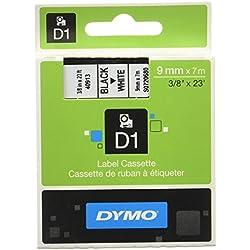 Dymo D1 Standard, Cintas para impresoras de etiquetas, 9 mm x 7 m, Negro sobre Blanco, Estándar Pack