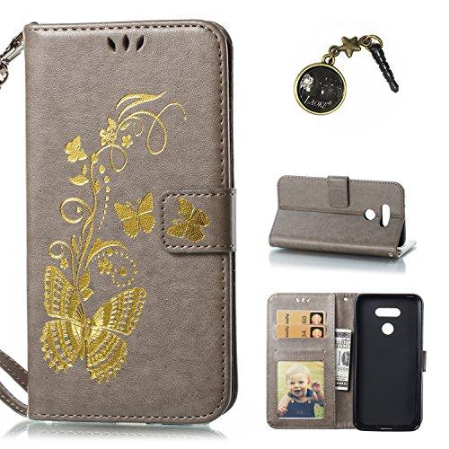 PU für LG G6 Hülle, Handyhülle / Tasche / Cover / Case für das LG G6 PU Leder Flip Cover Leder Hülle Kunstleder Folio Schutzhülle Wallet Tasche Etui Standfunktion Kredit Kartenfächer+Staubstecker (12)