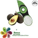 Coupe Avocat, 3 en 1 Éclaboussures Vertes Pits Tranches Poire Sharp Fruit Avocat Mango Papaya Pitter Peeler