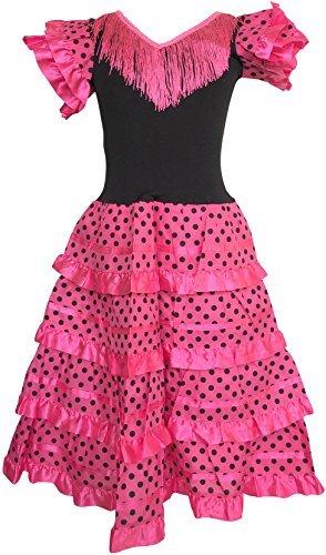 La Senorita Spanische Flamenco Kleid / Kostüm - für Mädchen / Kinder - Rosa / Schwarz (Größe 92-98 - Länge 65 cm, - Rosa Und Schwarz Kostüm