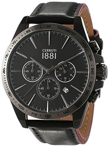 Cerruti 1881 uomo-orologio da parete al quarzo in pelle CRA126SB02BK