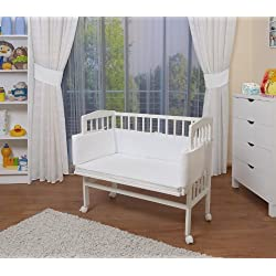 WALDIN Cuna colecho para bebé, cuna para bebé, con protector y colchón, lacado en blanco,color textil blanco
