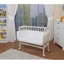 WALDIN Baby Beistellbett mit Matratze und Nestchen, höhen-verstellbar, Holz natur oder weiß lackiert, 16 Modelle wählbar