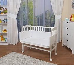 WALDIN Baby Beistellbett mit Matratze, höhen-verstellbar, Holz weiß lackiert,Große Liegefläche 90x55cm