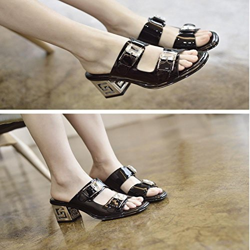 Heart&M Cuoio genuino di colore solido Decor strass Chunky Heels estate delle donne suola di gomma pantofole Mules Black