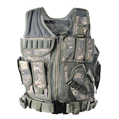 GKKXUE Tactical Vest Multifunktionale Outdoor Airsoft Taktische Weste Ultra-leichte Breathable Weste für spezielle Mission Combat Training Field Operations und militärische Fans Taktische Weste