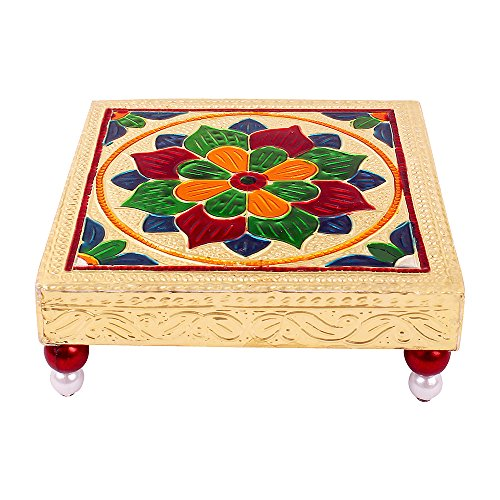 Rajasthani art Meenakari golden pooja Bajot/table/chowki, Ganapati Sinhasan, Gift Article, Laxmi Pujan during Diwali, Minamoti Legs  available at amazon for Rs.149