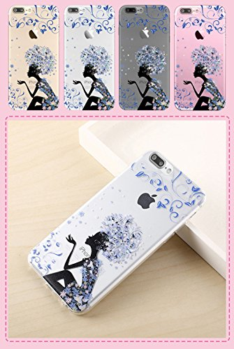 iPhone 7 Plus Case (5.5), iPhone 7 Plus Custodia, Bonice TPU trasparente Ultra Slim Thin 3D Case + Stilo Penna - butterfly Girl model 12