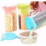 House Of Quirk 3 In 1 Transparent Sealed Cans Kitchen Sealed Jars Plastic Storage Bottles Storage Box For Food Cereals Grain Sealed Container