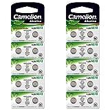 Camelion 12051013 Alkaline Knopfzellen ohne Quecksilber AG13/LR44/LR1154/357, 1,5 Volt, 10er-Pack + Alkaline Knopfzellen ohne Quecksilber AG10/LR54/LR1131/389/1,5 Volt, 10er-Pack