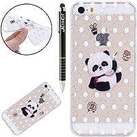 SainCat Funda iPhone 5S TPU Funda Carcasa Pintado Patrón Cover Bumper Funda Moda para iPhone 5S/SE-Pequeño Panda
