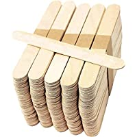 Kids B Crafty 50 Wooden Lollipop Sticks Jumbo Natural Craft 150mm X 19mm - Lolly Plant Labels - Wood Craft - Garden - Structures Smooth - Premium Quality - Structures - Smooth Wide Large Stick