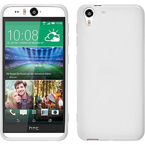 PhoneNatic Case kompatibel mit HTC Desire Eye - weiß Silikon Hülle X-Style + 2 Schutzfolien