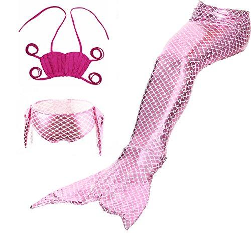 ShiyiUP 3pcs Traje de Baño de Cuello Hálter con Cola de Sirena Bikini Set para Niña