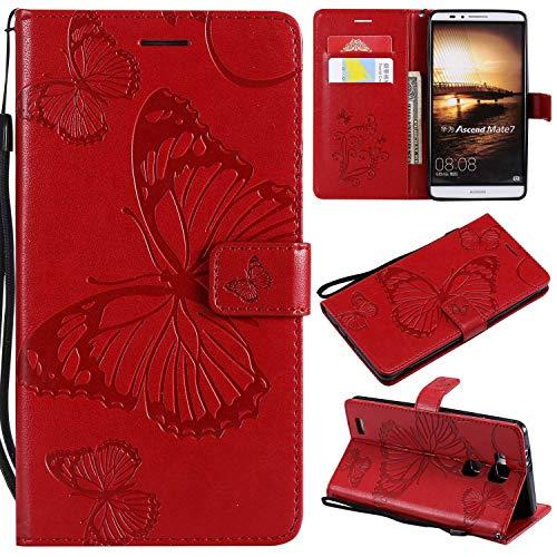 Huawei Mate 7 Hülle, Conber Lederhülle Handyhülle mit [Kostenlose Schutzfolie], PU Tasche Leder Flip Case Cover Emboss 3D Schmetterling Schutzhülle für Huawei Mate 7 - Rot