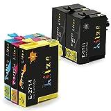 Hitze für Epson 27XL Druckerpatronen Tintenpatronen, 27 XL Kompatibel für Epson WorkForce WF-7610, WF-7620, WF-7710, WF-7720, WF-7110, WF-7210, WF-7715 Drucker (2 Schwarz, 1 Cyan, 1 Magenta, 1 Gelb)