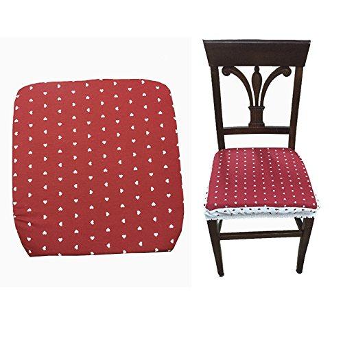Takestop® set 6 coprisedia cuscini rosso cuori con fascia elastico cuscino per sedie imbottito sfoderabile trama casuale