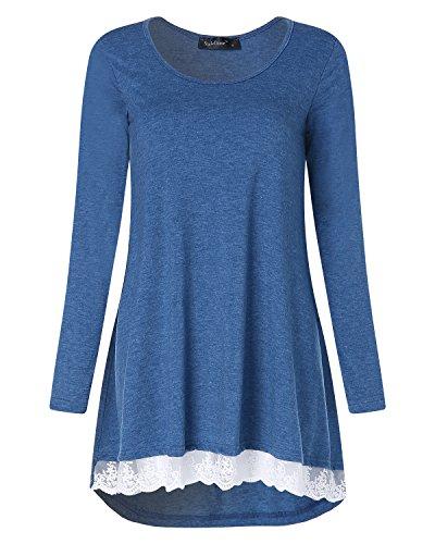 StyleDome Femme Dentelle Lâce Tunique Pull Col Rond Manches Longues Casual Lâche Tunic Tops Haut Shirt Longue Bleu