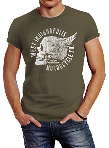 Neverless Herren T-Shirt Motorrad Biker Totenkopf Skull Wings Vintage Slim Fit Army