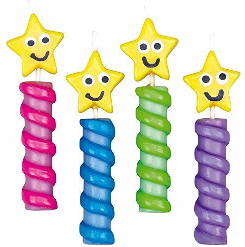 Wilton Velas de Estrella, Ceray Plástico, Multicolor, 1.68x12.32x16.64cm, 4 Unidades