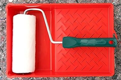 17 teiliges PROFI Lackier Set Malerwalzen Ringpinsel Plattpinsel Farbwanne Lack