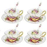 Artvigor, set da caffè in porcellana, 12 pezzi 4 tazze da caffè, 4 piattini, 4 cucchiaini caffè, set da tè per 4 persone